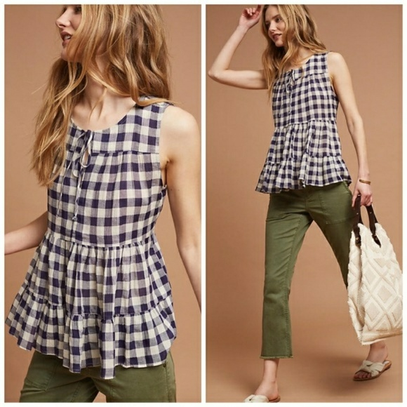 65636aa22d3f5 Anthropologie Tops | Nwt Tylho Skirted Gingham Top | Poshmark